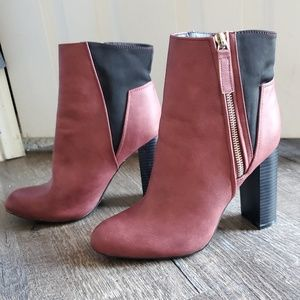 C Label Side Zip Chunky Heeled Ankle Booties